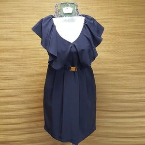 H&M navy ruffle dress with pockets